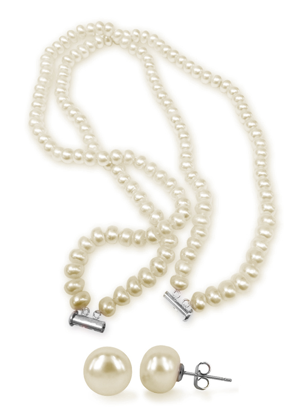 Tara Island Collection White Double Strand Pearl Necklace Earring
