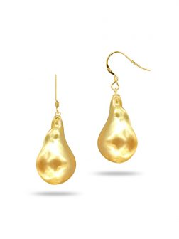 PACIFIC PEARLS POLYNESIA COLLECTION Gold 20mm Giant Baroque Pearl Earrings on 18K Yellow Gold