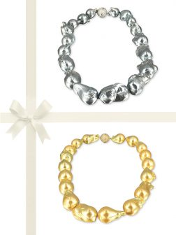 PACIFIC PEARLS POLYNESIA COLLECTION Metallic Gray & Gold Giant Baroque Pearl Necklace Gift Set