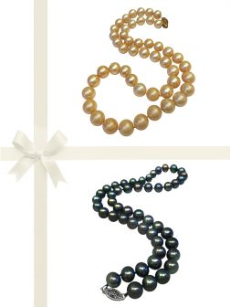 PACIFIC PEARLS MARIA-THERESA REEF COLLECTION Champagne & Peacock 9-10mm Pearl Necklace Gift Set