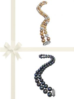 PACIFIC PEARLS MARIA-THERESA REEF COLLECTION Pastel & Aubergine 9-10mm Pearl Necklace Gift Set