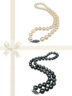 PACIFIC PEARLS MARIA-THERESA REEF COLLECTION White & Peacock 9-10mm Pearl Necklace Gift Set