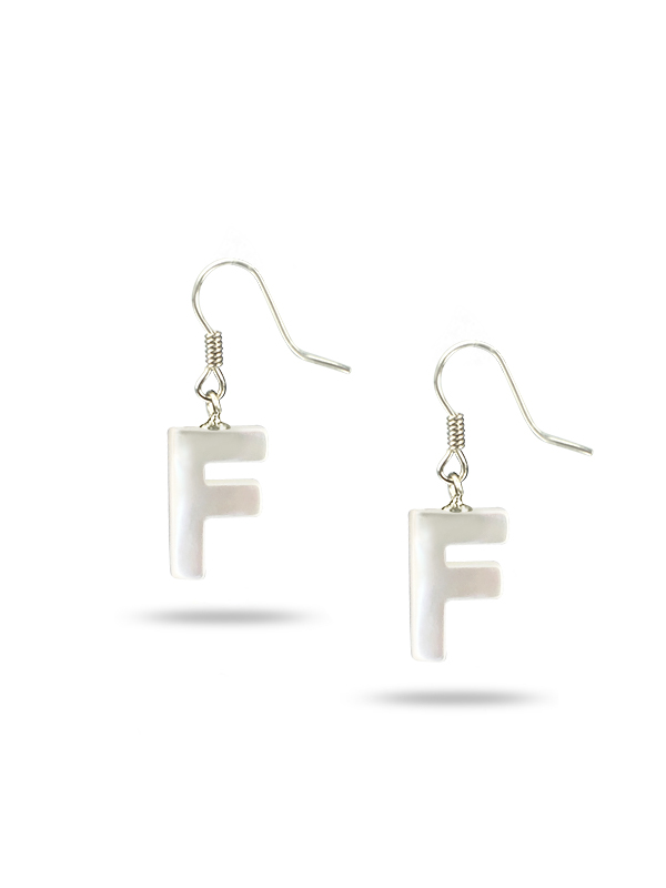Pacific Pearls Mauna Loa Collection Letter F Mother Of Pearl Earrings