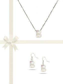 "PACIFIC PEARLS OYSTER BAY COLLECTION Letter ""B"" Mother-of-Pearl Pendant & Earring Gift Set"
