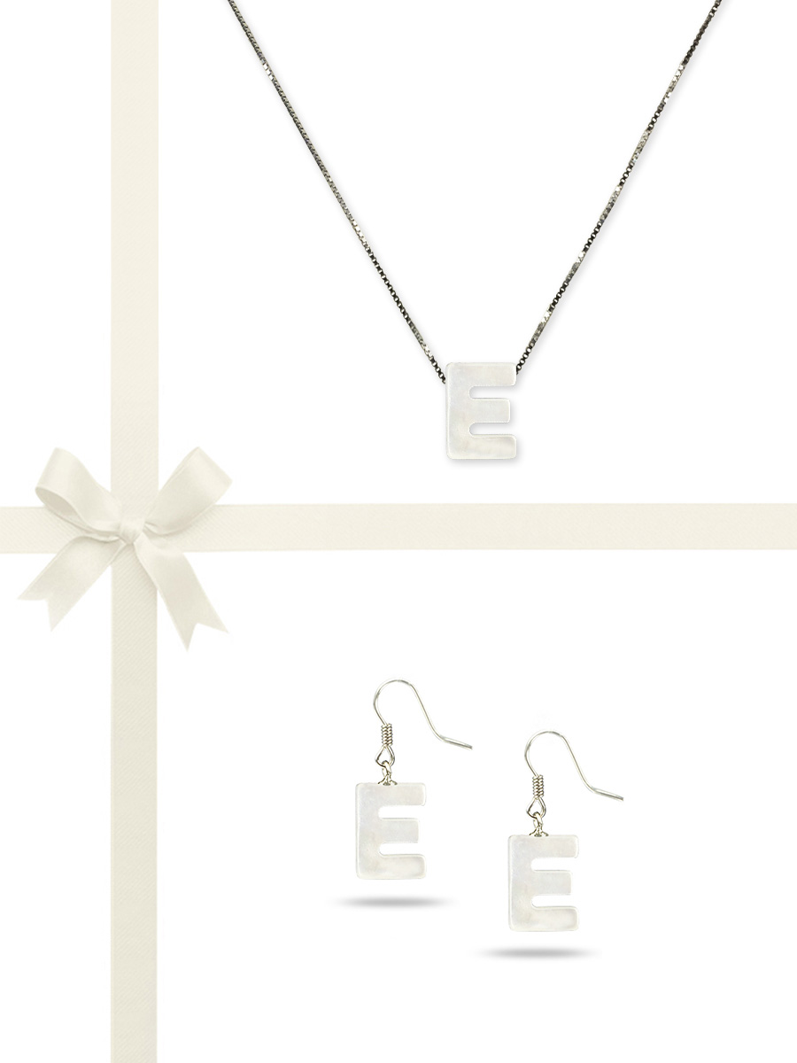 "PACIFIC PEARLS OYSTER BAY COLLECTION Letter ""E"" Mother-of-Pearl Pendant & Earring Gift Set"