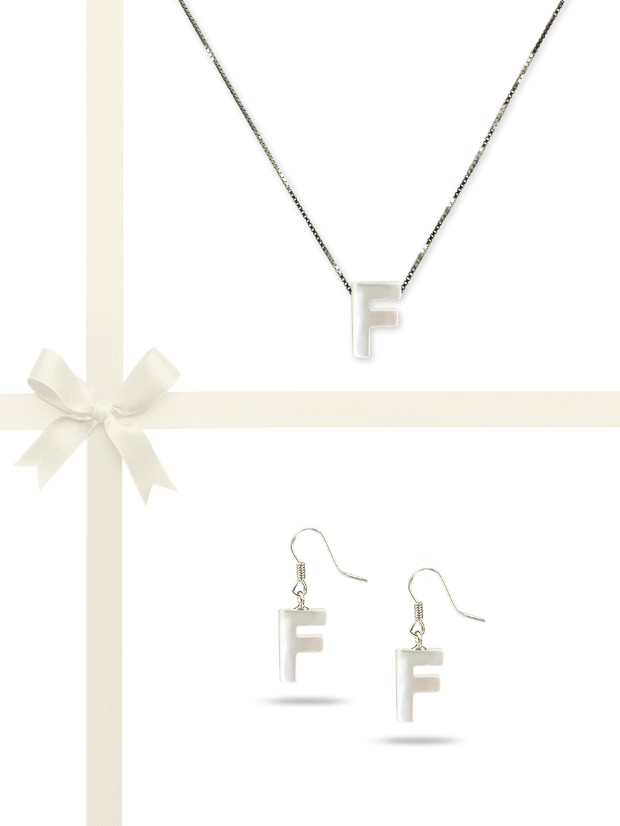 """PACIFIC PEARLS OYSTER BAY COLLECTION Letter """"F"""" Mother-of-Pearl Pendant & Earring Gift Set"""