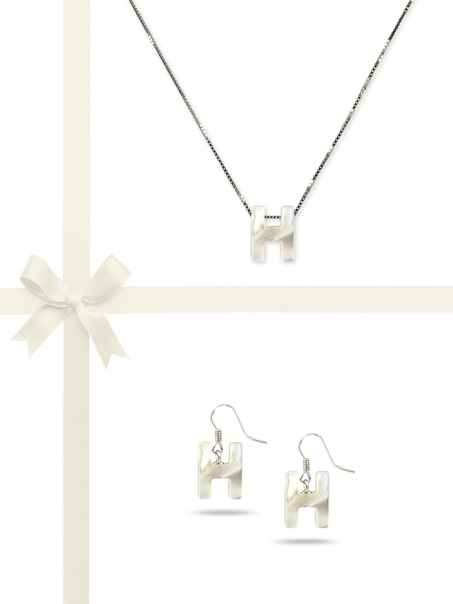 """PACIFIC PEARLS OYSTER BAY COLLECTION Letter """"H"""" Mother-of-Pearl Pendant & Earring Gift Set"""