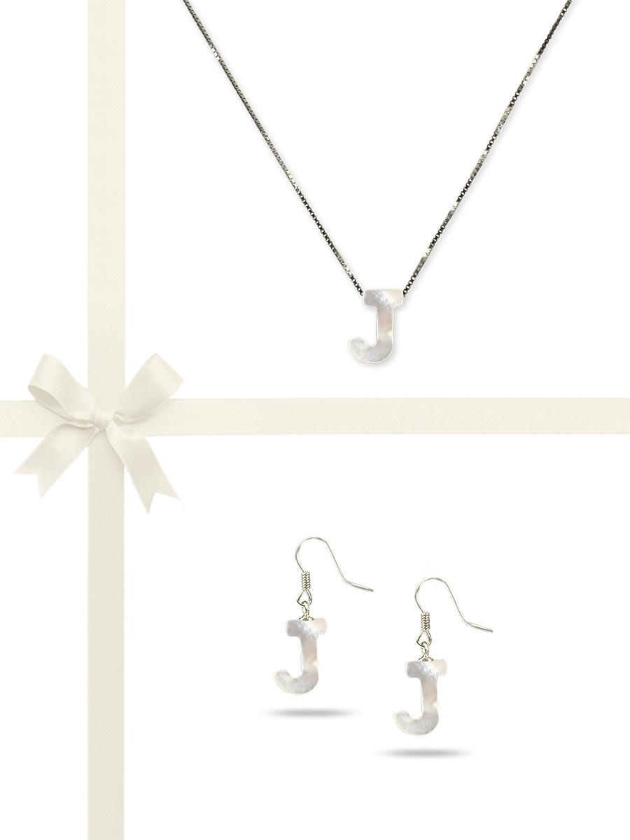 """PACIFIC PEARLS OYSTER BAY COLLECTION Letter """"J"""" Mother-of-Pearl Pendant & Earring Gift Set"""