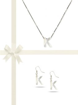 "PACIFIC PEARLS OYSTER BAY COLLECTION Letter ""K"" Mother-of-Pearl Pendant & Earring Gift Set"