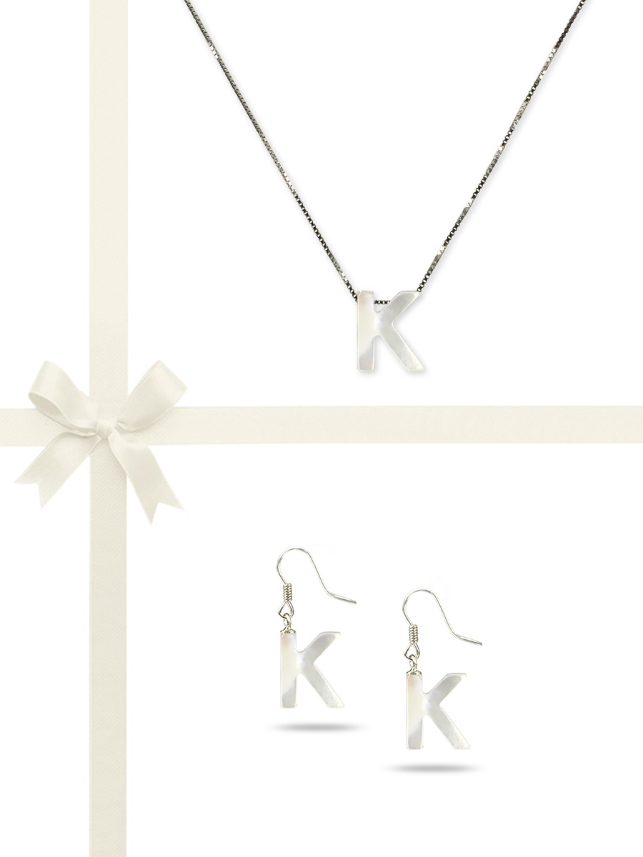 """PACIFIC PEARLS OYSTER BAY COLLECTION Letter """"K"""" Mother-of-Pearl Pendant & Earring Gift Set"""