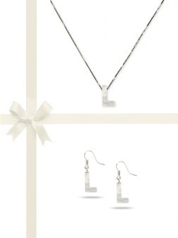 """PACIFIC PEARLS OYSTER BAY COLLECTION Letter """"L"""" Mother-of-Pearl Pendant & Earring Gift Set"""