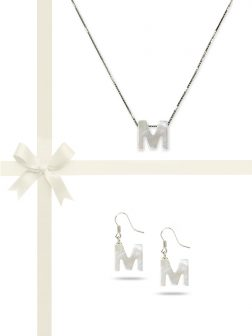 """PACIFIC PEARLS OYSTER BAY COLLECTION Letter """"M"""" Mother-of-Pearl Pendant & Earring Gift Set"""