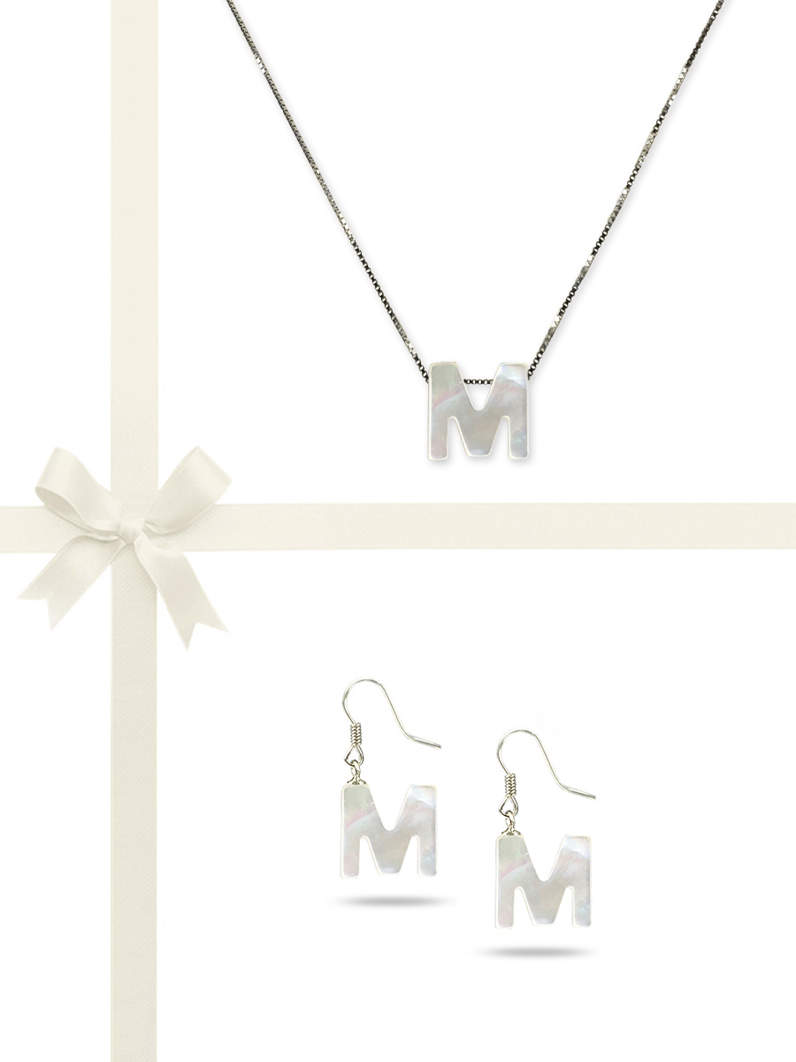"PACIFIC PEARLS OYSTER BAY COLLECTION Letter ""M"" Mother-of-Pearl Pendant & Earring Gift Set"