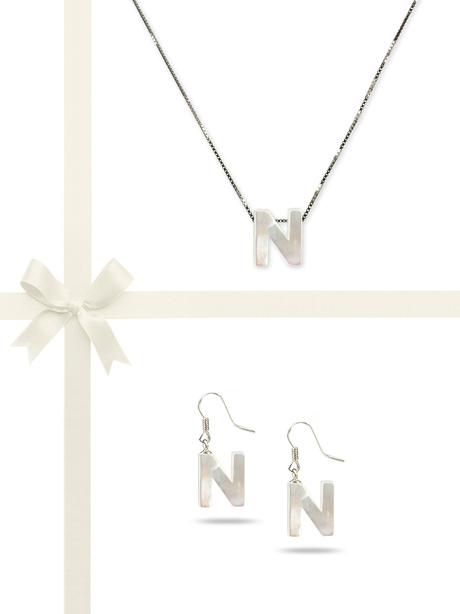 "PACIFIC PEARLS OYSTER BAY COLLECTION Letter ""N"" Mother-of-Pearl Pendant & Earring Gift Set"