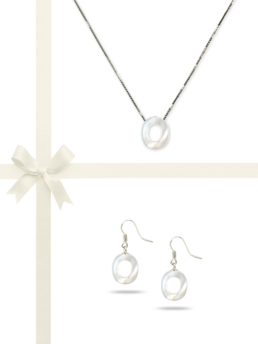 """PACIFIC PEARLS OYSTER BAY COLLECTION Letter """"O"""" Mother-of-Pearl Pendant & Earring Gift Set"""
