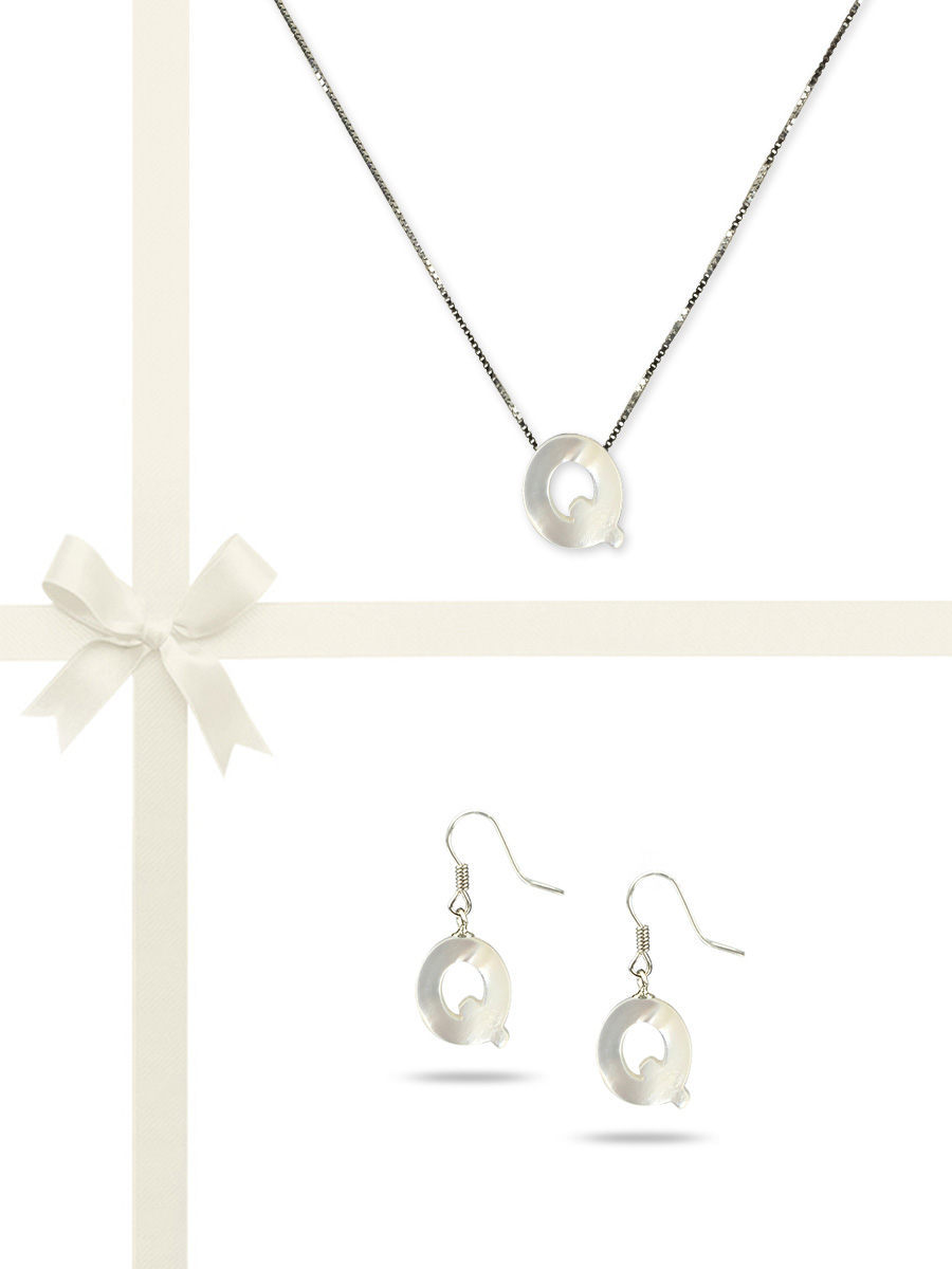 "PACIFIC PEARLS OYSTER BAY COLLECTION Letter ""Q"" Mother-of-Pearl Pendant & Earring Gift Set"
