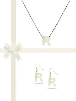 "PACIFIC PEARLS OYSTER BAY COLLECTION Letter ""R"" Mother-of-Pearl Pendant & Earring Gift Set"