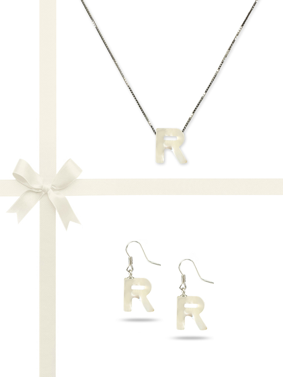 """PACIFIC PEARLS OYSTER BAY COLLECTION Letter """"R"""" Mother-of-Pearl Pendant & Earring Gift Set"""