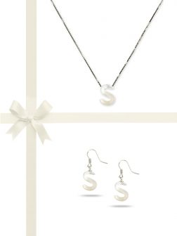 """PACIFIC PEARLS OYSTER BAY COLLECTION Letter """"S"""" Mother-of-Pearl Pendant & Earring Gift Set"""