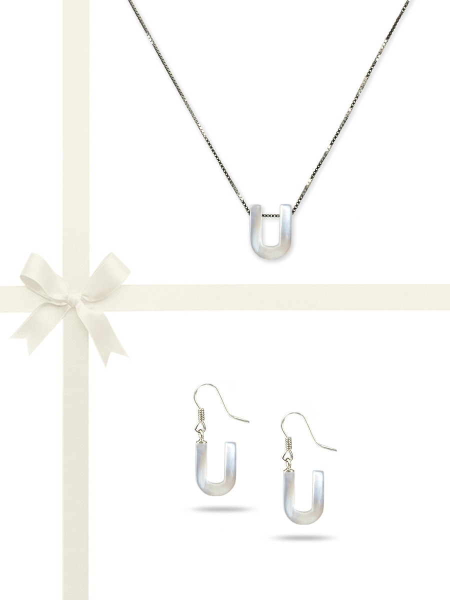 """PACIFIC PEARLS OYSTER BAY COLLECTION Letter """"U"""" Mother-of-Pearl Pendant & Earring Gift Set"""
