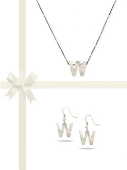 "PACIFIC PEARLS OYSTER BAY COLLECTION Letter ""W"" Mother-of-Pearl Pendant & Earring Gift Set"