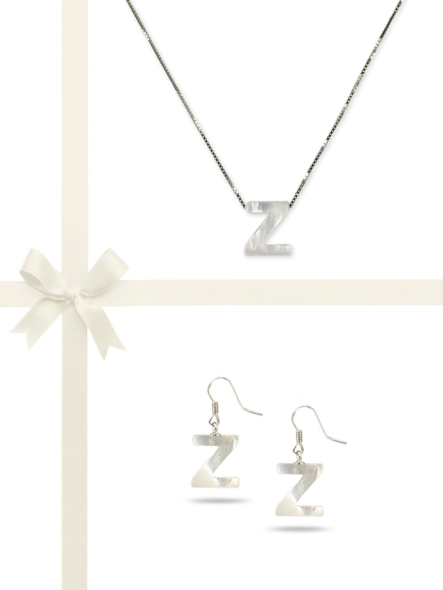"""PACIFIC PEARLS OYSTER BAY COLLECTION Letter """"Z"""" Mother-of-Pearl Pendant & Earring Gift Set"""