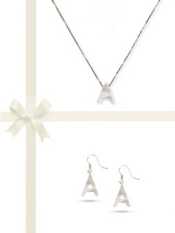 PACIFIC PEARLS OYSTER BAY COLLECTION Letter A Mother-of-Pearl Pendant & Earring Gift Set