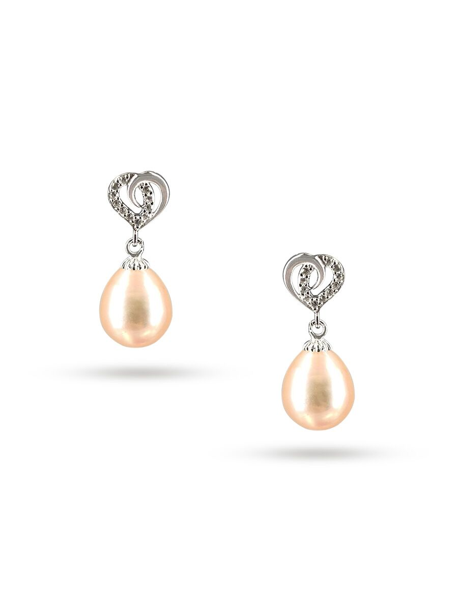 Aloha Collection Juliet Diamond Encrusted Peach Pearl Earrings Pacificpearls