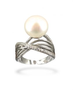 PACIFIC PEARLS BORA BORA COLLECTION Foxtrot 12-13mm Diamond Encrusted White Pearl Ring