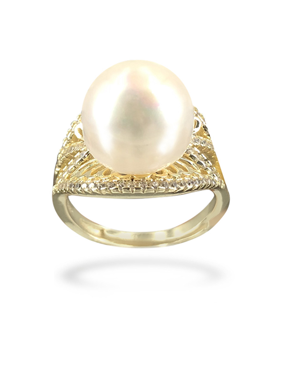 PACIFIC PEARLS BORA BORA COLLECTION Swan Lake 12-13mm Diamond Encrusted White Pearl Ring