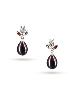 PACIFIC PEARLS ROSE ATOLL COLLECTION Tudor Rose 10-11mm Black Pearl Earrings