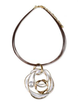 PACIFIC PEARLS WAIKIKI COLLECTION Iolana 18K Yellow Gold Filled Designer Pearl Pendant