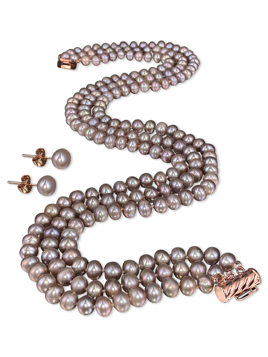 TARA ISLAND COLLECTION Lavender Blush Triple Strand Pearl Necklace & Earrings