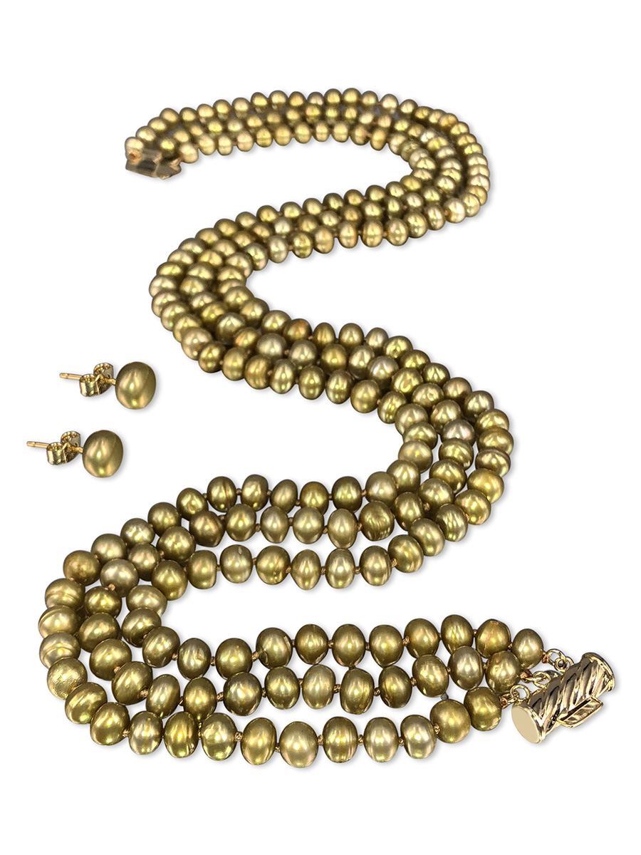 PACIFIC PEARLS TARA ISLAND COLLECTION Tuscan Gold Triple Strand Pearl Necklace & Earrings
