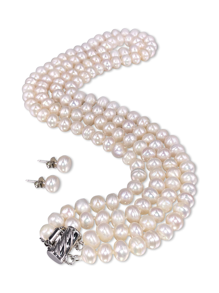PACIFIC PEARLS TARA ISLAND COLLECTION White Gardenia Double Strand Pearl Necklace & Earrings