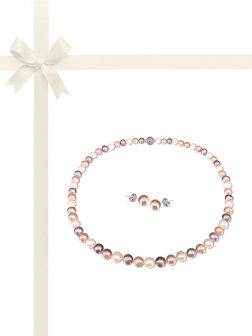 PACIFIC PEARLS BUA BAY COLLECTION Pastel 7-8mm Pearl Necklace & Earring Gift Set