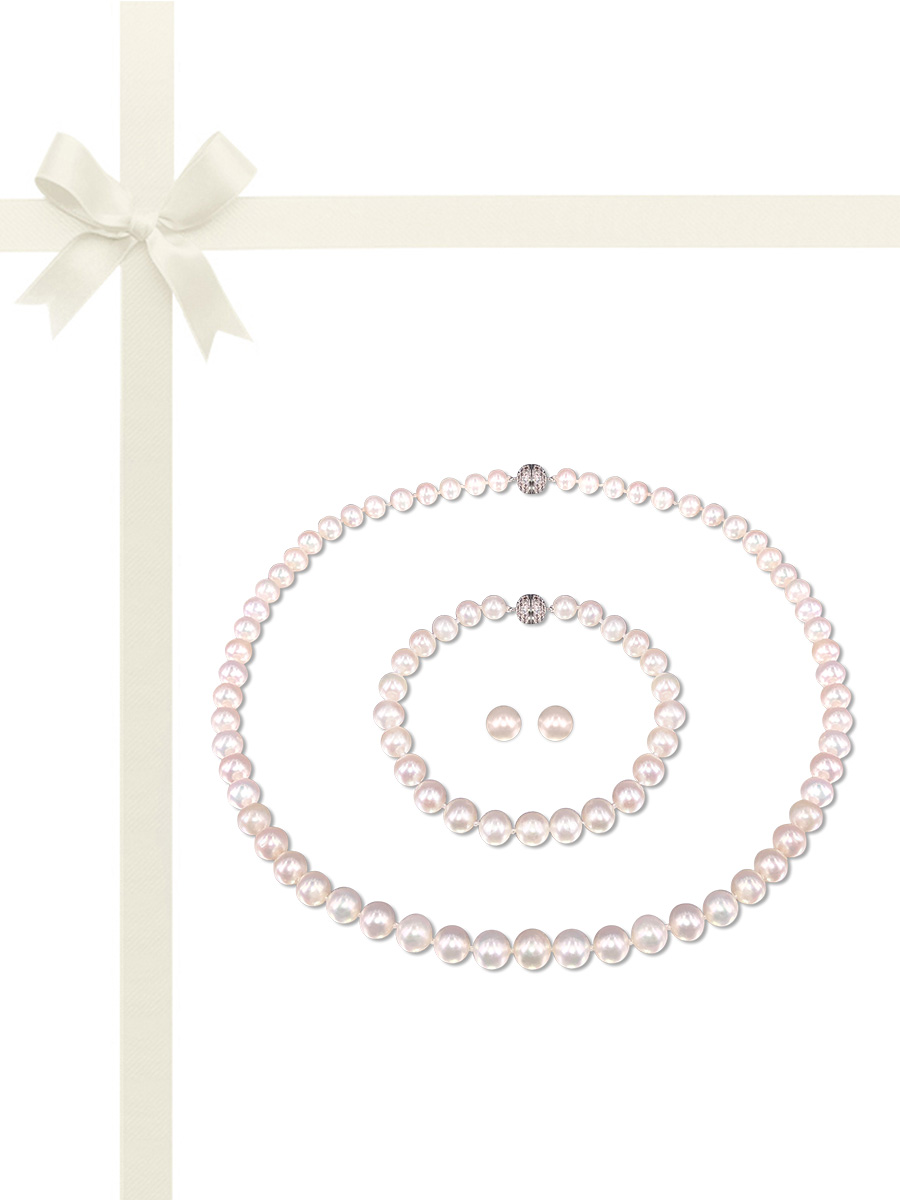 PACIFIC PEARLS BUA BAY COLLECTION White 7-8mm Pearl Necklace, Bracelet, & Earring Gift Set