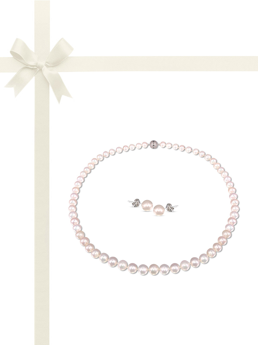 PACIFIC PEARLS BUA BAY COLLECTION White 7-8mm Pearl Necklace & Earring Gift Set