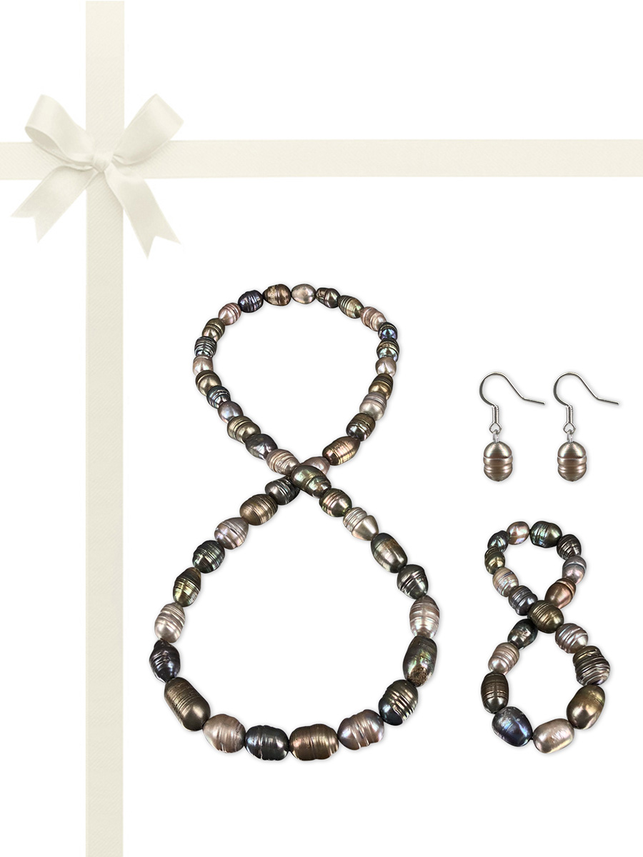 PACIFIC PEARLS RAINBOW REEF COLLECTION Aberdeen Mist 10-12mm Honey Dipper Pearl Gift Set