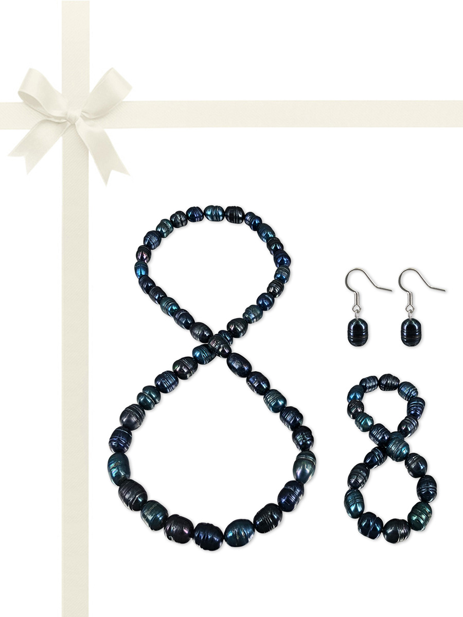 PACIFIC PEARLS RAINBOW REEF COLLECTION Norwegian Night Sky 10-12mm Honey Dipper Pearl Gift Set