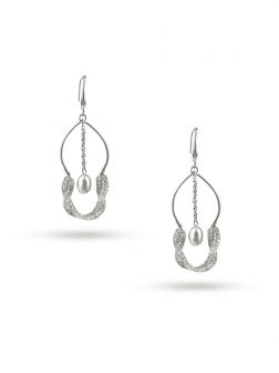 PACIFIC PEARLS ROSE ATOLL COLLECTION 18K White Gold Filled Pearl & Swarovski Earrings