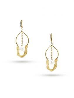 PACIFIC PEARLS ROSE ATOLL COLLECTION 18K Yellow Gold Filled Pearl & Swarovski Earrings