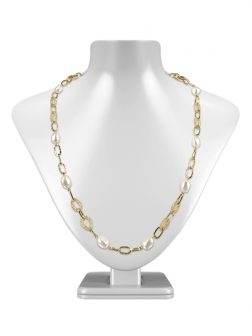 PACIFIC PEARLS SUNSHINE COAST COLLECTION 18K Yellow Gold Filled Pearl & Swarovski Necklace & Bracelet Set