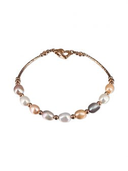 PACIFIC PEARLS SULU SEA COLLECTION Centre Court 18K Rose Gold Filled Pearl Tennis Bracelet