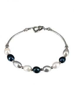 PACIFIC PEARLS SULU SEA COLLECTION Centre Court 18K White Gold Filled Pearl Tennis Bracelet