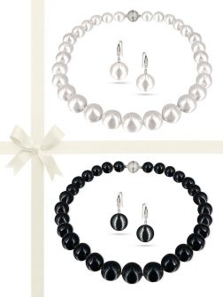 PACIFIC PEARLS VANUATU COLLECTION Classic 13-15mm Edison Pearl Necklace & Earring Gift Set