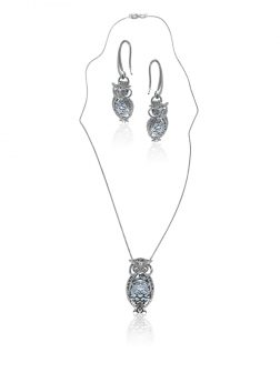 PACIFIC PEARLS BUA BAY COLLECTION Wise Owl 18K White Gold Diamond Pavé Pearl Locket Pendant & Earrings