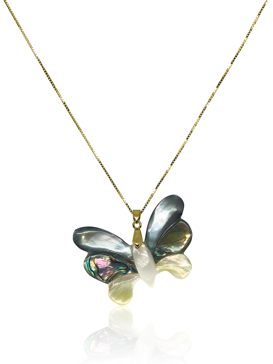 OYSTER BAY COLLECTION Bejeweled Butterfly South Sea Mother-of-Pearl & Pāua Pendant