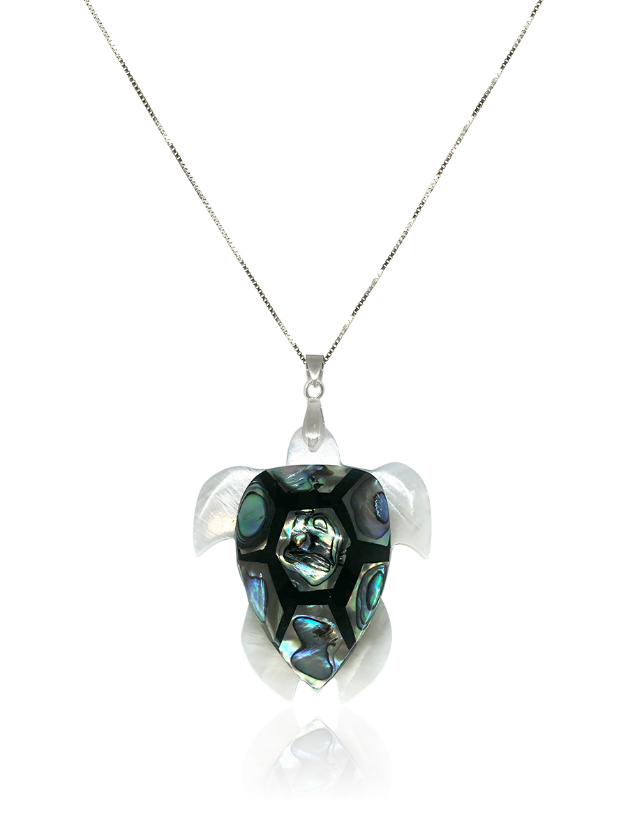 OYSTER BAY COLLECTION Kuilima Turtle South Sea Mother-of-Pearl & NZ Pāua Abalone Pendant