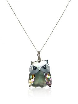 OYSTER BAY COLLECTION Owl of Hawaii South Sea Mother-of-Pearl & Pāua Abalone Pendant